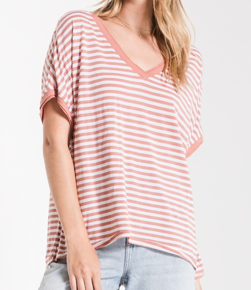 Z Supply Stripe Boyfriend V Neck Tee - ZT191685-OLR
