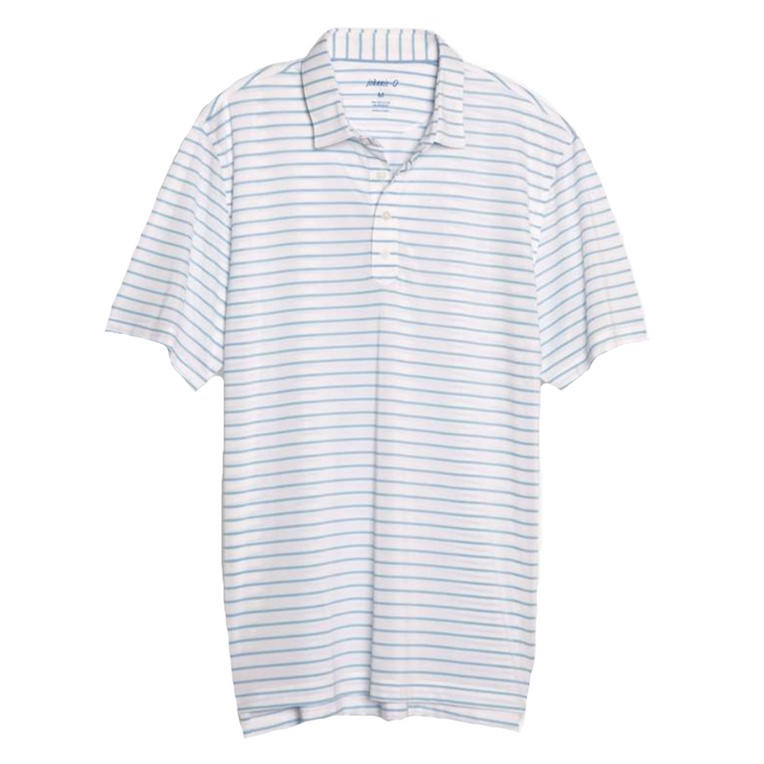 Johnnie-O Cay Striped Prep-Formance Pique Polo- White - JMPO2250-WHT