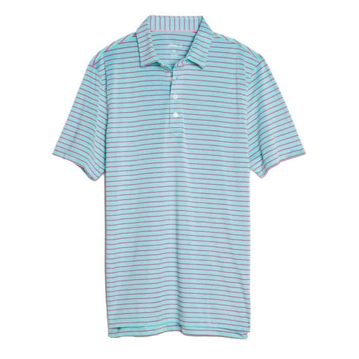 Johnnie-O Cay Striped Prep-Formance Pique Polo- Pipeline   - JMPO2250-PIP