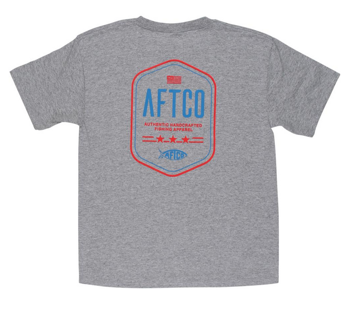 Youth Aftco Dog Tag S/S Tee- Graphite - BT4221-GRAH