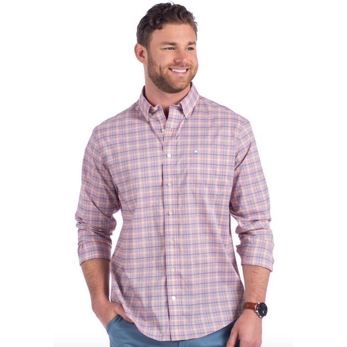 The Southern Shirt Company Broad Street Check Button Down- Peachtree - BROAD STREET-PEA