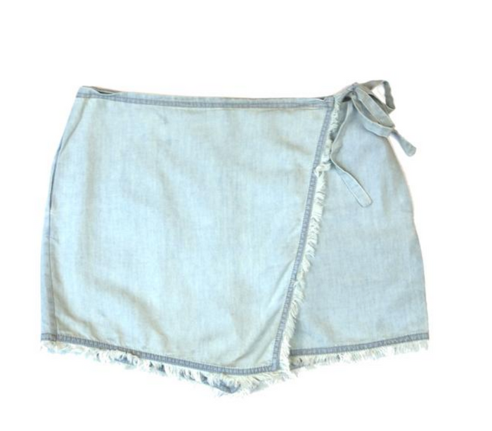 Frayed Skort- Cream Blue - MP109297-CRE