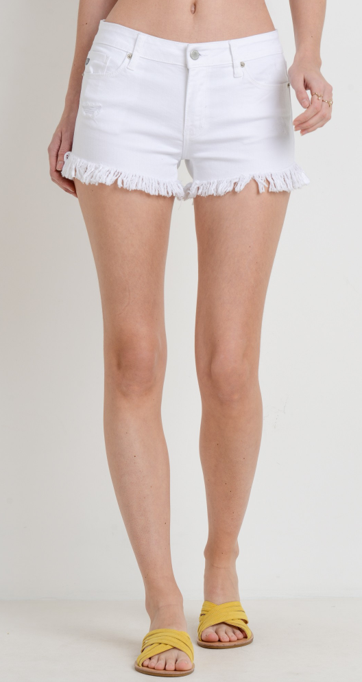 Frayed Just Right Short- White - JH020-WHT