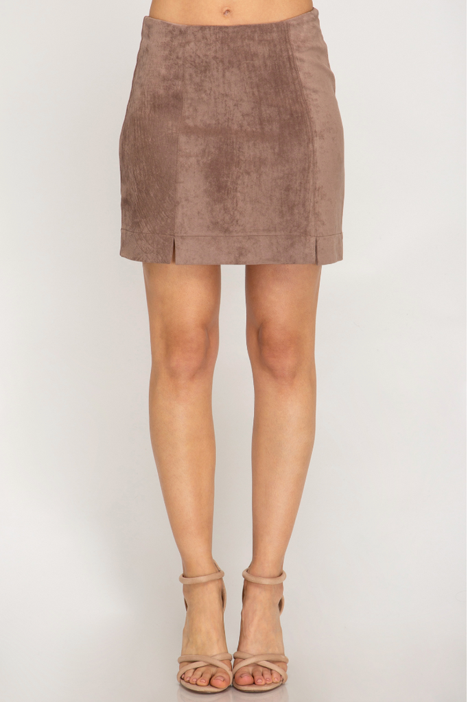 Date Night Faux Suede Mini Skirt- Mocha-SS1863-BLK