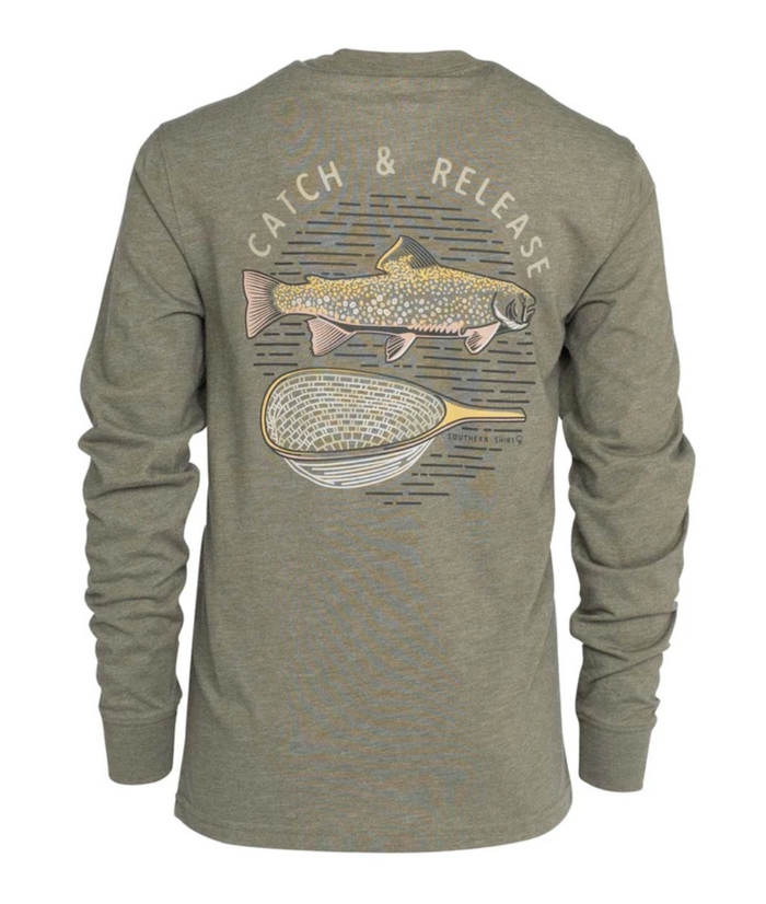 Southern Shirt Company Boy's Catch and Release Tee- Mossberg- BOY'S CATCH AND RELEASE L/S-MOS