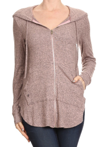Freeloader Zip Up Hoodie- Dusty Pink- FT-2461-T-DUS