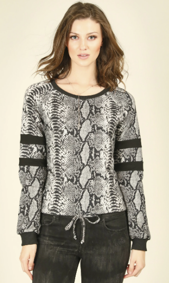 Retro Snake Pullover- Charcoal- MP141