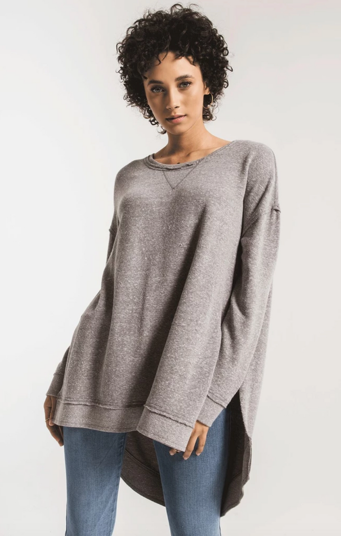 Z Supply Triblend Vacay Weekender Pullover- Heather Grey
