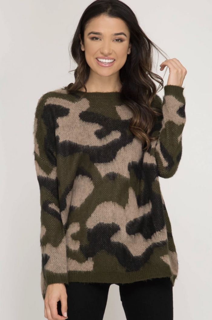 Down For The Hunt Sweater- SL8672- Camo