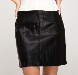 Work To Play Leather Skirt- SL7508R-BLK