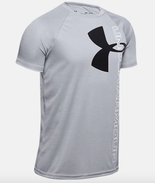 Under Armour Youth Tech Split Logo Hybrid Tee Shirt