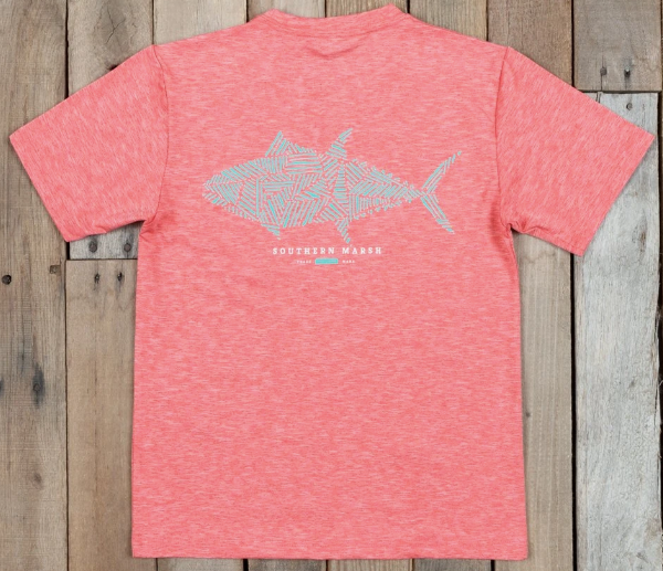 Southern Marsh Youth FieldTec Heathered Performance Tee- Tuna