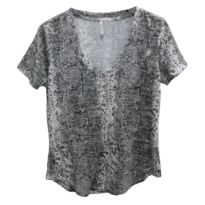Z Supply Snakeskin V-Neck Tee- ZT192949- GRC
