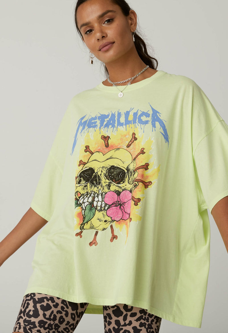 Daydreamer Metallica Flower Skull Graphic Tee