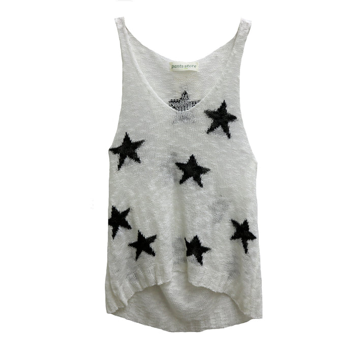 Oh My Stars Sweater Tank- White and Black- JT19-36-WHT/BLK