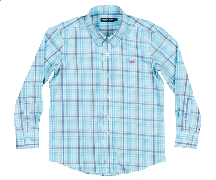Southern Marsh Youth Mansur Window Button Down- Slate/Mint