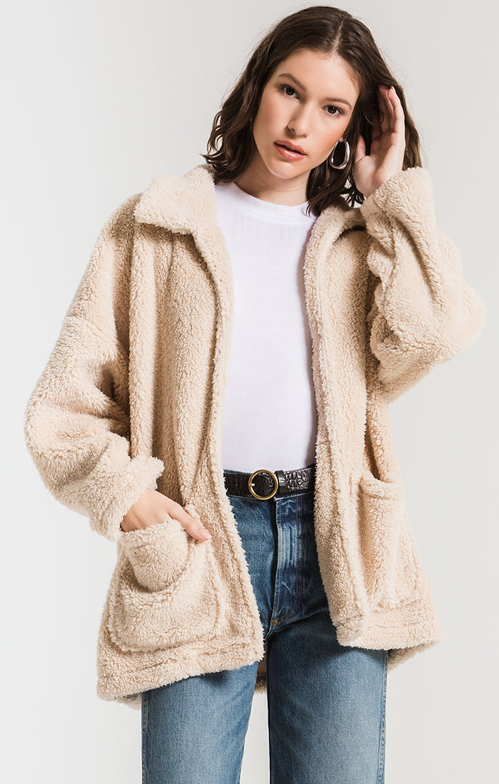 Z Supply Sherpa Teddy Bear Coat- Pearl- ZJ183512
