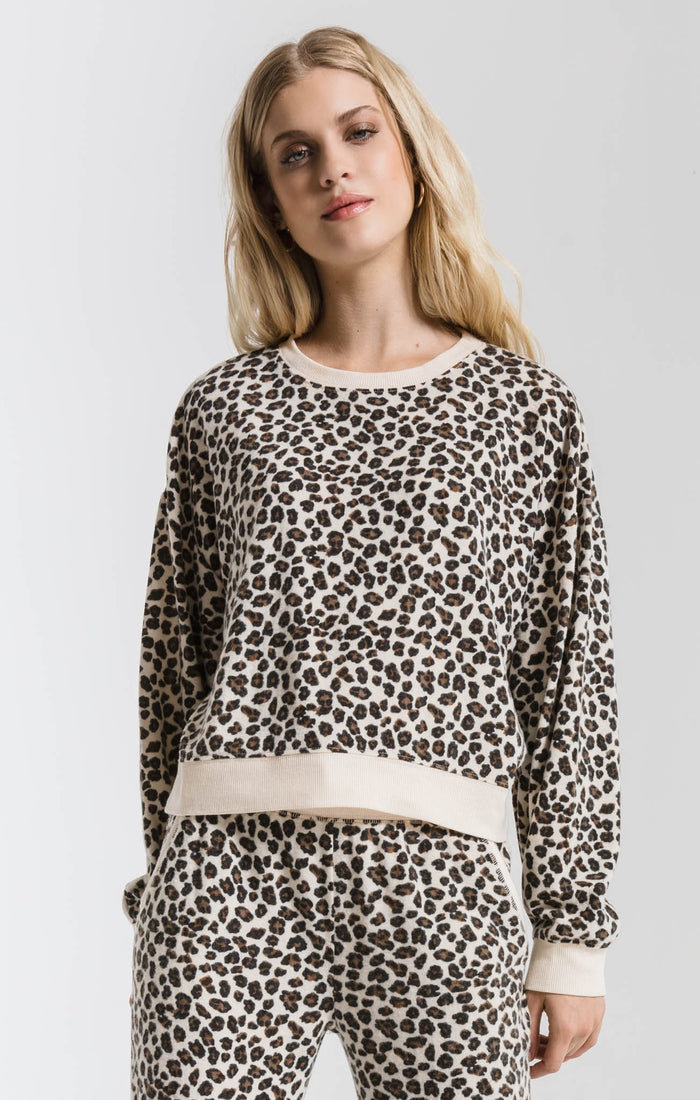 Z Supply Brushed Leopard Pullover- ZT191915