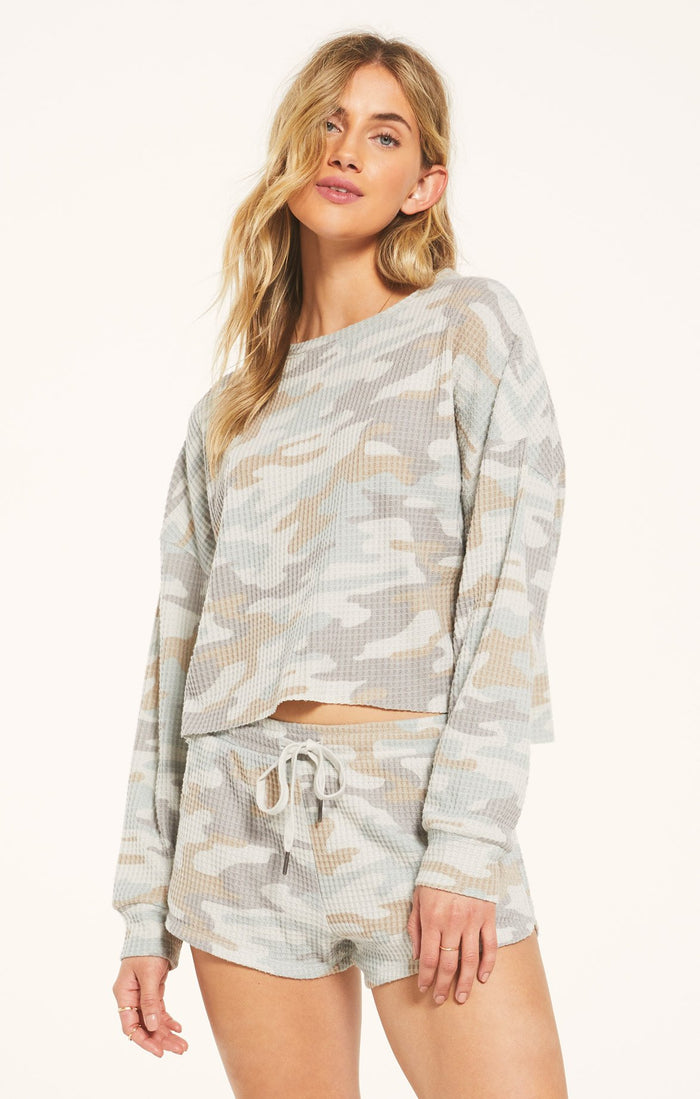 Z Supply Lounge Celine Camo Long Sleeve Top