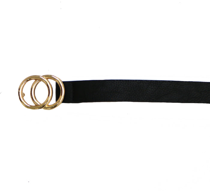 Skinny Faux Leather Belt- Black- JOIA-BELT-BLACK