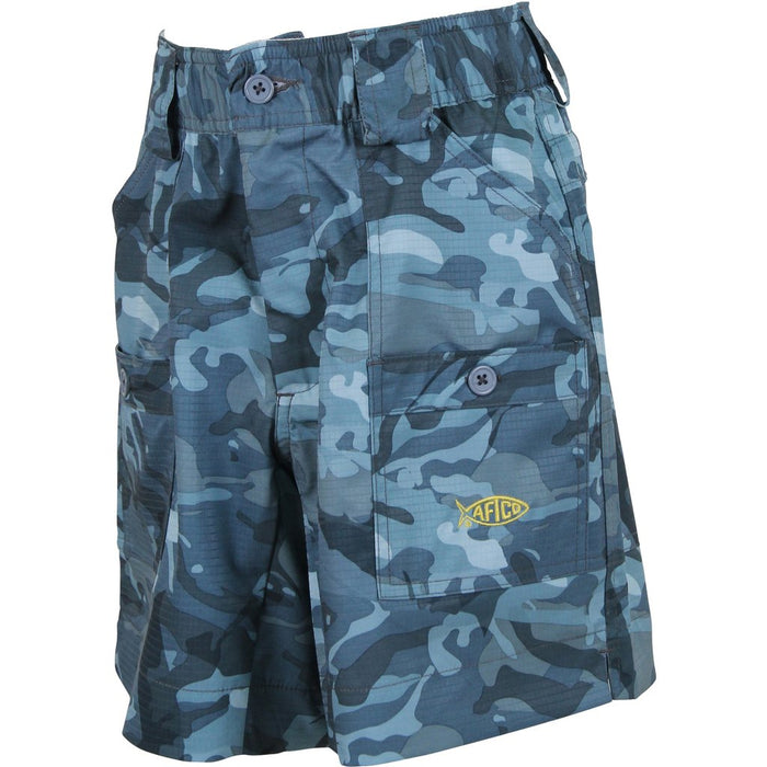 Boy's Aftco Short- Blue Camo