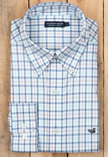 Southern Marsh Chambers Gingham Performance Button down