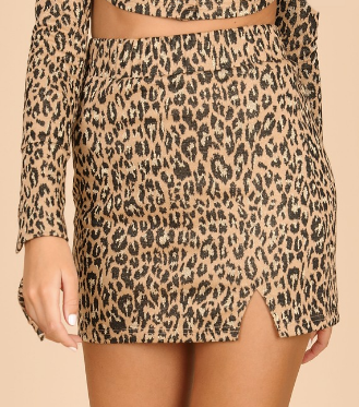 On The Hunt Skirt- Lurex Leopard- WISK660B