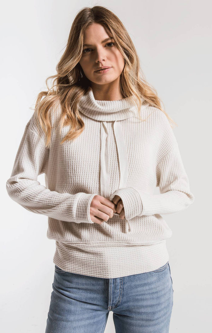 Z Supply Cowl Neck Waffle Thermal Top- Champagne Mist- ZT193139
