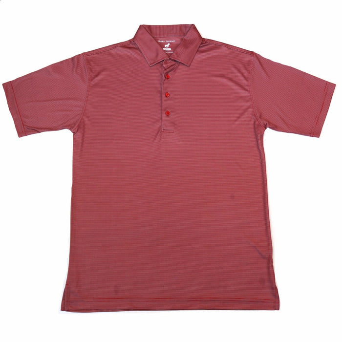 Youth Horn Legend Striped Polo- Crimson/Grey