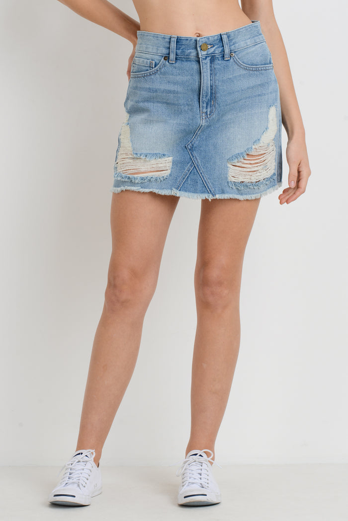 Just Black Destroyed A-Line Denim Skirt