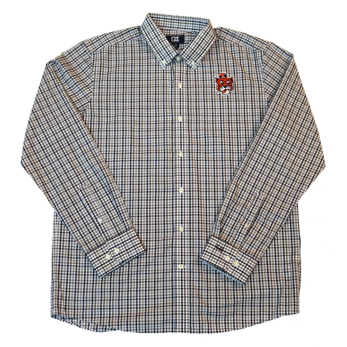 Cutter & Buck Tiger Head Gilman Button Down- Grey/ Navy