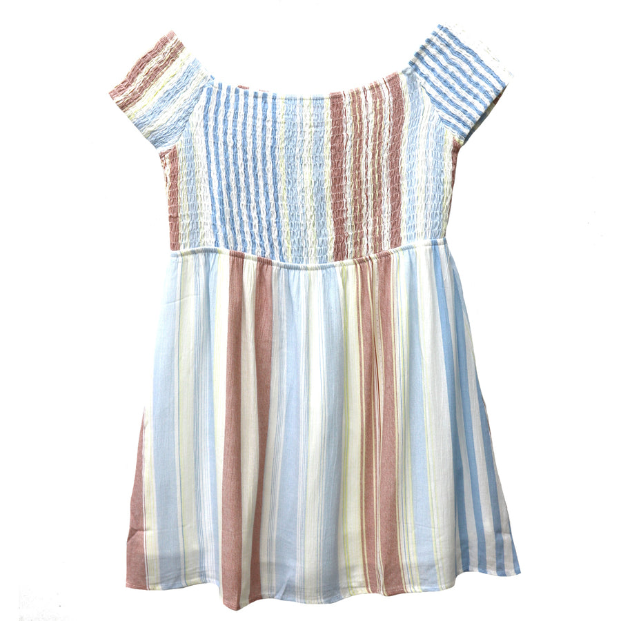 Girl's Smocked Stripe Dress- KD1400-IVY