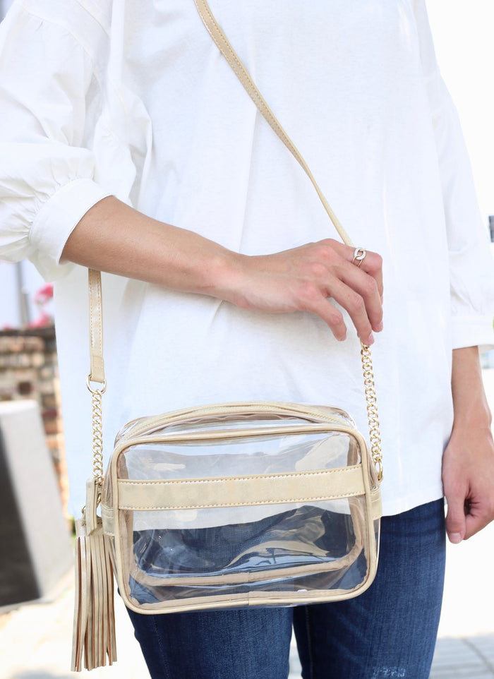 Carissa Clear Crossbody Bag- Glimmer Gold- P13900-GLI
