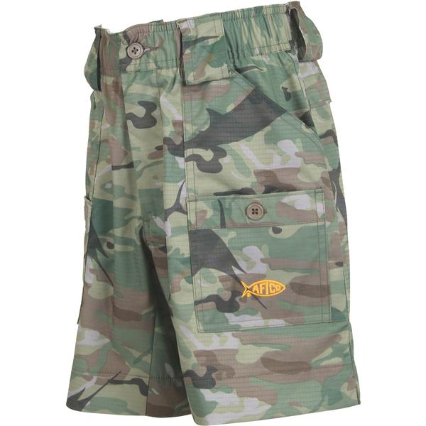 Boy's Aftco Short- Green Camo