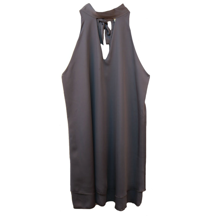 High Neck Keyhole Dress- Charcoal- D-3103-CHA