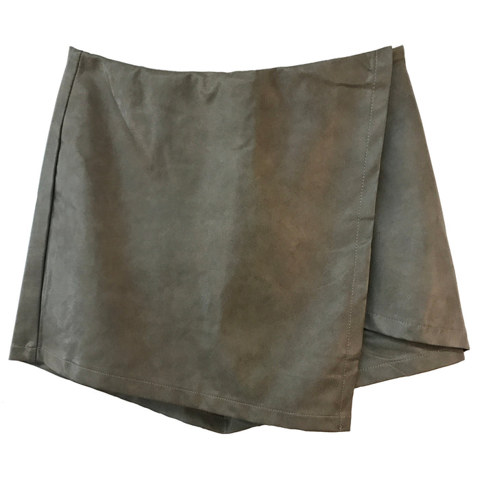 A Touch Of Edge Leather Skort- SL8576-MOCHA