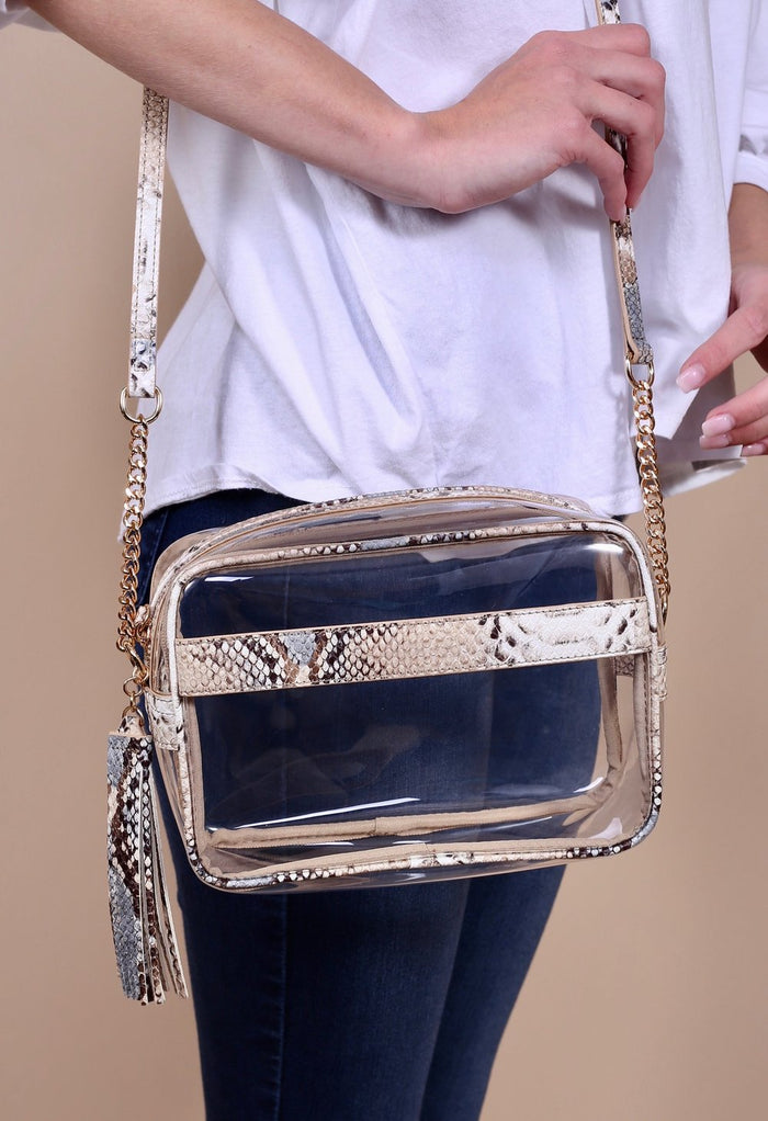 Carissa Clear Crossbody Bag- Grey Snake- P13900-GRY