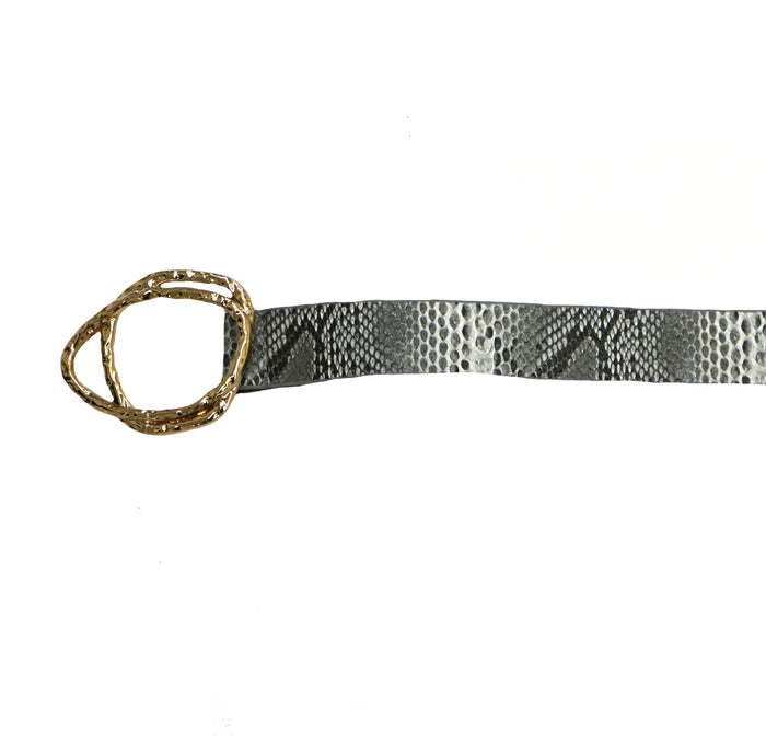 Snakeskin Faux Leather Belt- black/white snake- JOIA-3827-BLACK