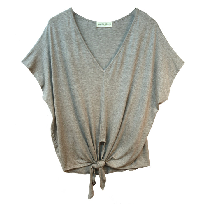 Put a Knot In It Top- Heather Grey