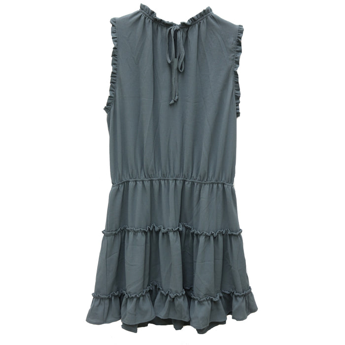 Ruffle Me Up Dress- Charcoal- D-4570-CHA