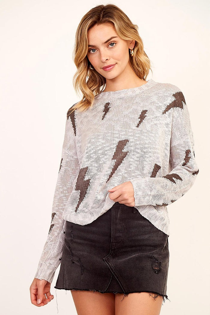 Electric Feel Sweater- Grey/Charcoal - JT19-12-GRY/CHA