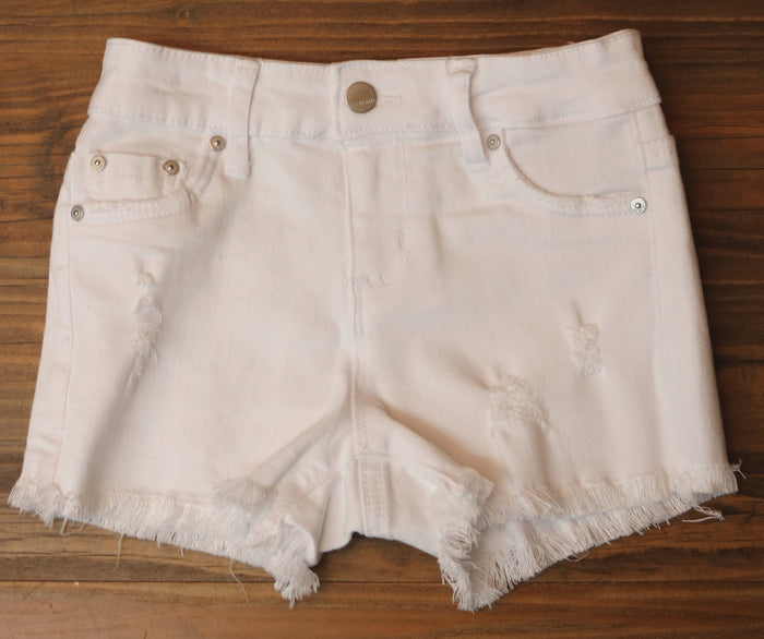 Girl's Tractr Distressed Cutoff Short - White
