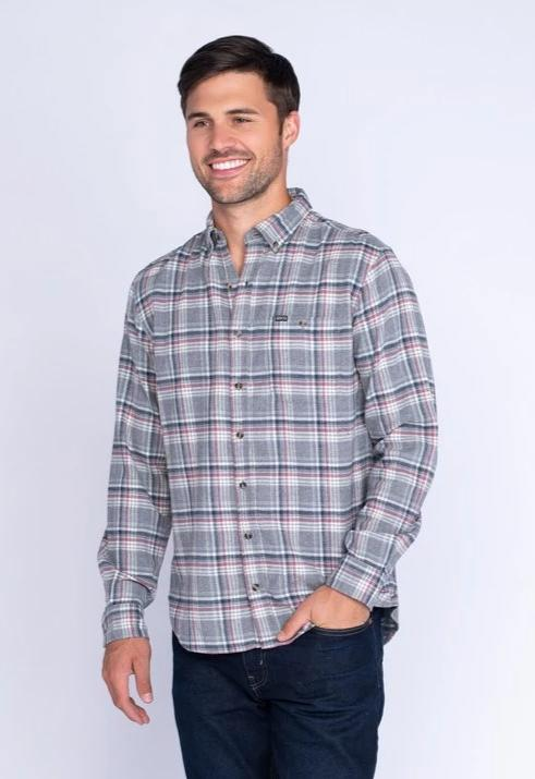 Southern Shirt Company Kirkwood Heather Flannel- Grey Ridge- KIRKWOOD HEATHER FLANNEL L/S-GRY