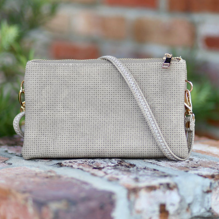 Liz Crossbody/ Wristlet- Taupe Perforated - FW1C-P1216-P-TP