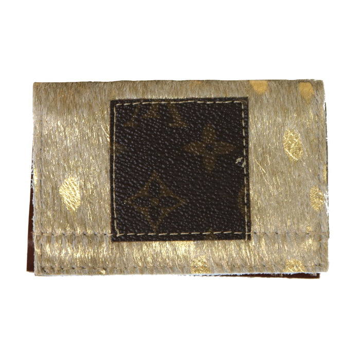 Authentic Repurposed Louis Vuitton Card Holder- Gold