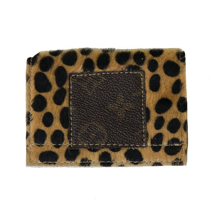 Authentic Repurposed Louis Vuitton Cowhide Card Holder- Leopard