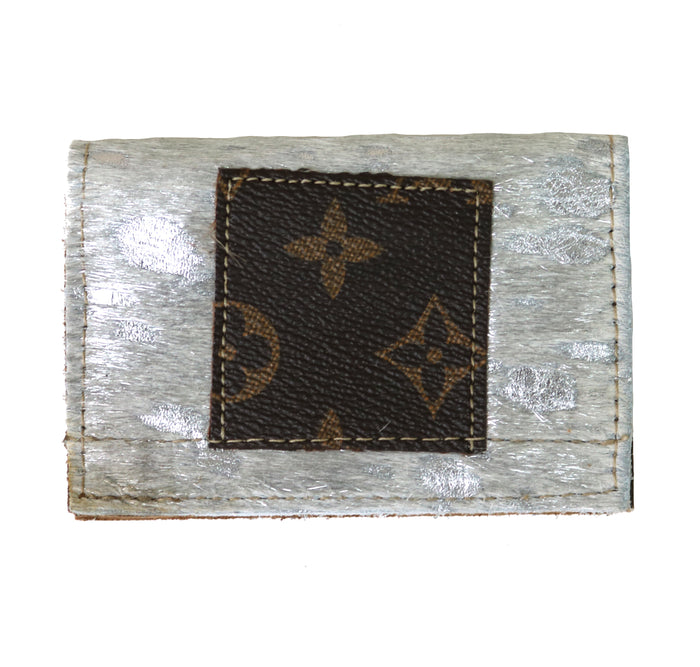 Authentic Repurposed Louis Vuitton Cowhide Card Holder- Silver