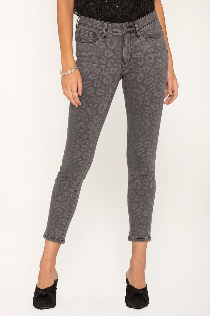 Miss Me Mid-Rise Ankle Skinny- Grey/Leopard