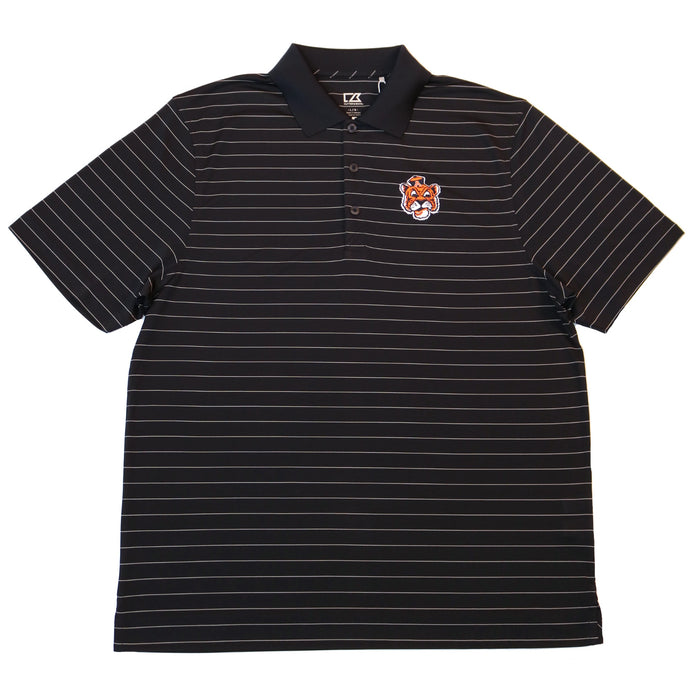 Cutter & Buck Thick Stripe Tiger Head Drytec Polo- Navy Blue/ White