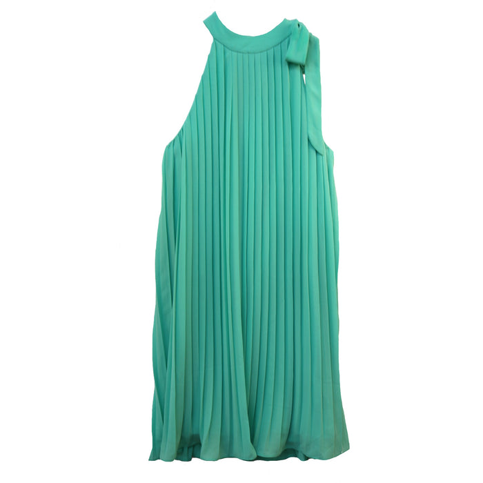 Accordion High Neck Dress- Mint